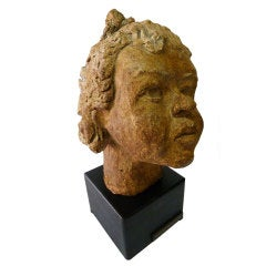 Mid-Century Adorable Sculpture of a Little Girl Head