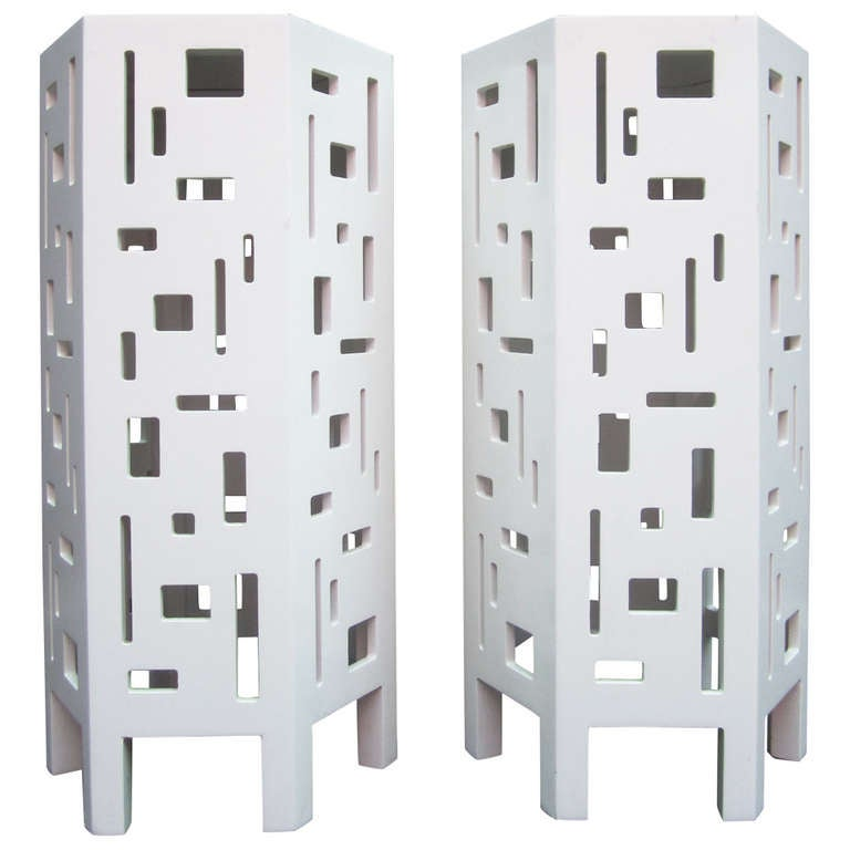 Lacquered Geometric Side Tables, Pair