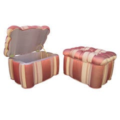 Striped Tufted Storage Ottomans, Pair