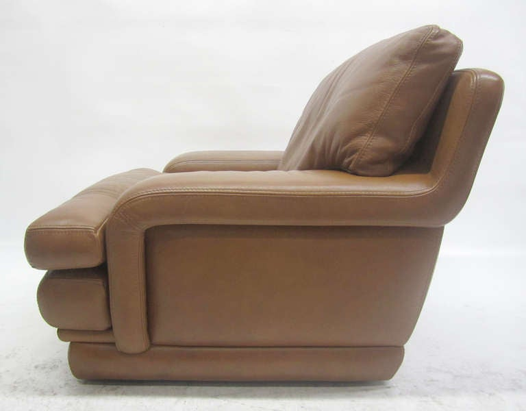 Roche Bobois Leather Recliner And Ottoman At 1stdibs