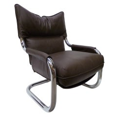 Imposing Leather and Chrome Tubing  Lounge Chair