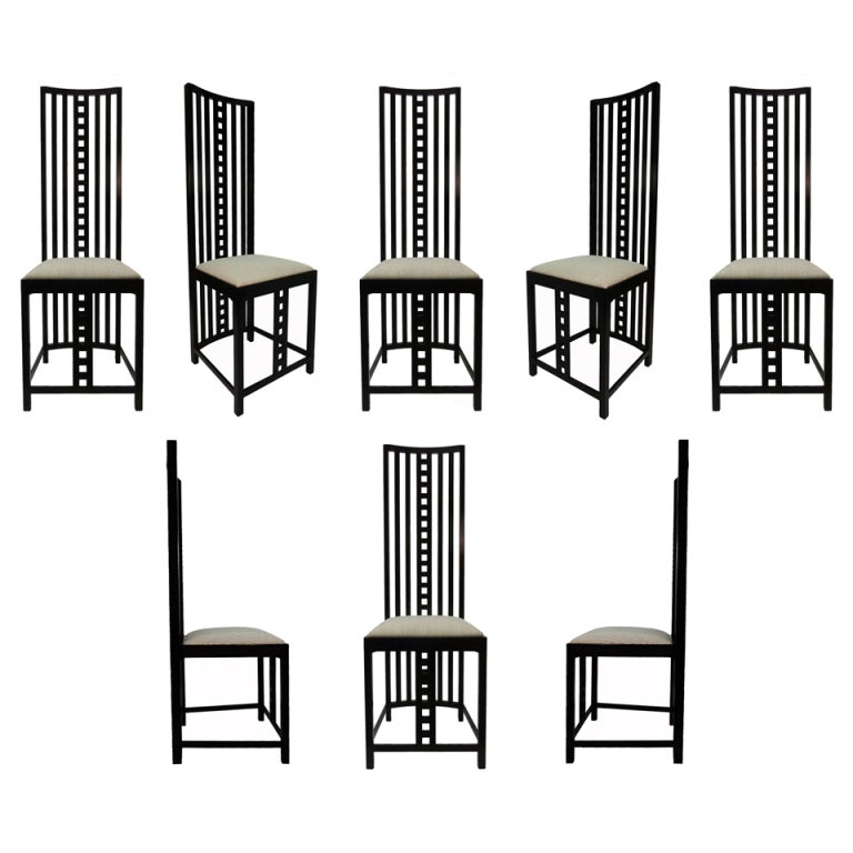 Charles Rennie Mackintosh Hill House Chairs Set Of Eight At 1stdibs
