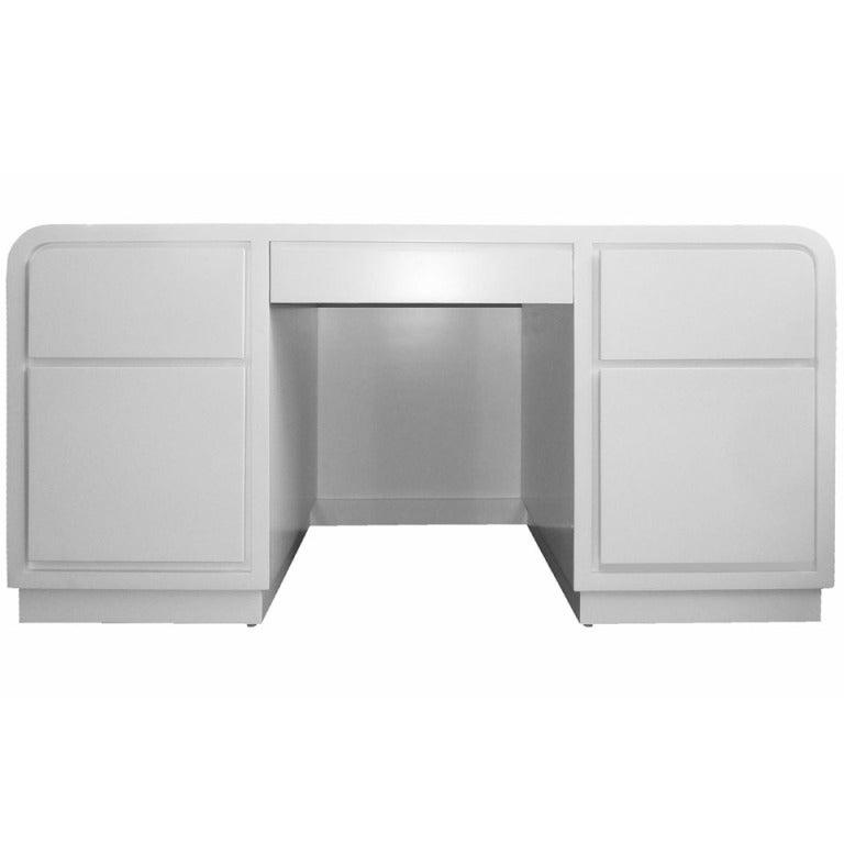 1980s White Lacquer Desk In The Manner Of Karl Springer At