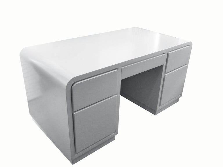 1980s White Lacquer Desk In The Manner Of Karl Springer 2