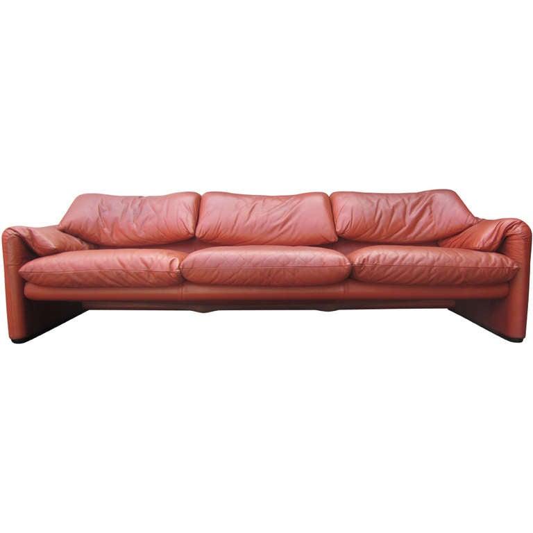 vico magistretti for cassina maralunga leather sofa at 1stdibs. Black Bedroom Furniture Sets. Home Design Ideas