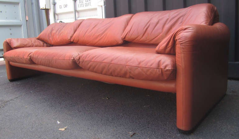 "Vico Magistretti for Cassina ""Maralunga"" Leather Sofa 3"