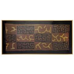 Impressive Large African Kuba Cloth, Framed