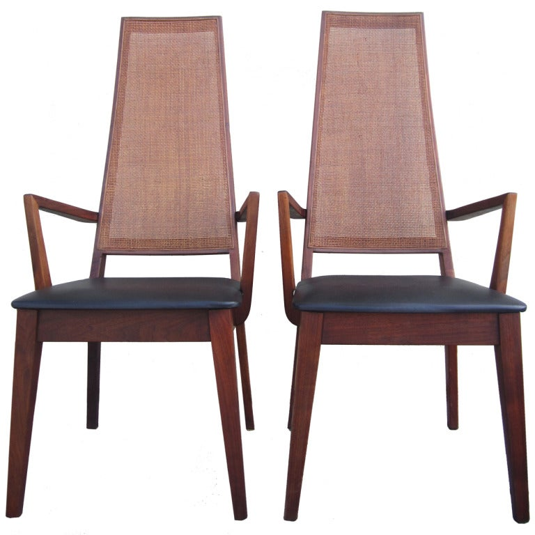 Mid Century Modernist High Back Or Desk Chair W New: Mid-Century Cane-Back Armchairs By Tempo Of California At