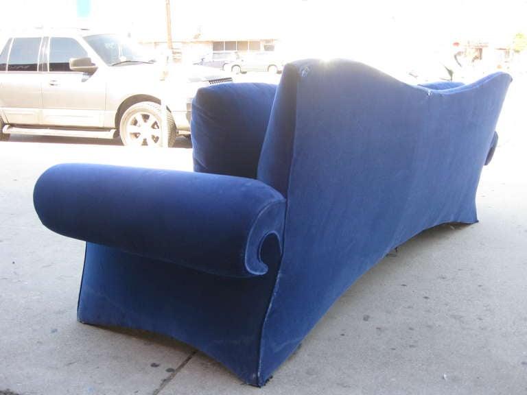 20th Century Striking 1980s Sofa in Blue Velvet by Goodman Charlton For Sale