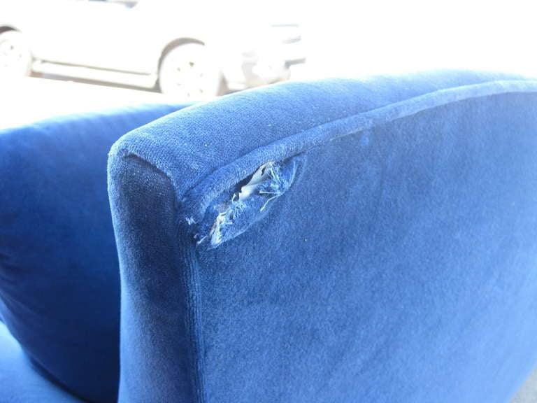 Upholstery Striking 1980s Sofa in Blue Velvet by Goodman Charlton