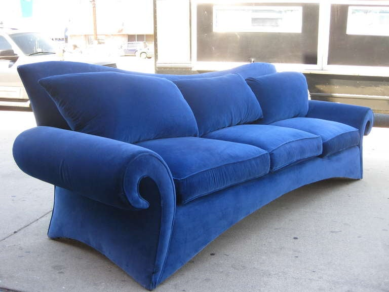 Striking 1980s Sofa in Blue Velvet by Goodman Charlton In Fair Condition For Sale In Los Angeles, CA