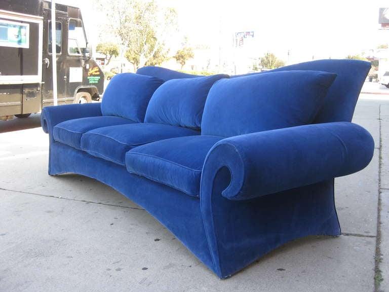 American Striking 1980s Sofa in Blue Velvet by Goodman Charlton For Sale