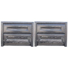 Pair of Cerused Nightstands by Lane