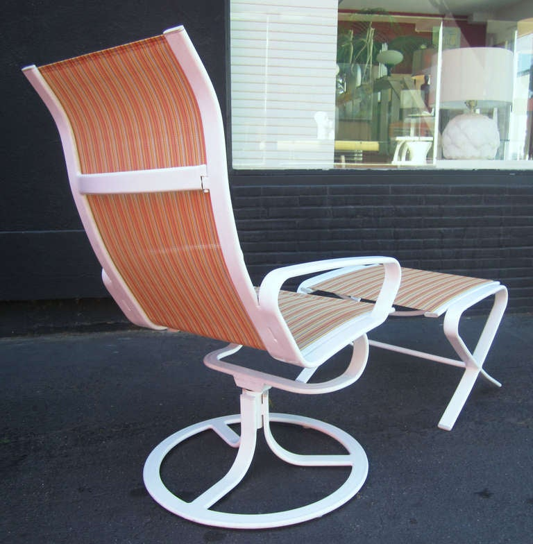 Brown Jordan High Back Swivel Lounge Chairs with Ottomans Pair at 1stdibs