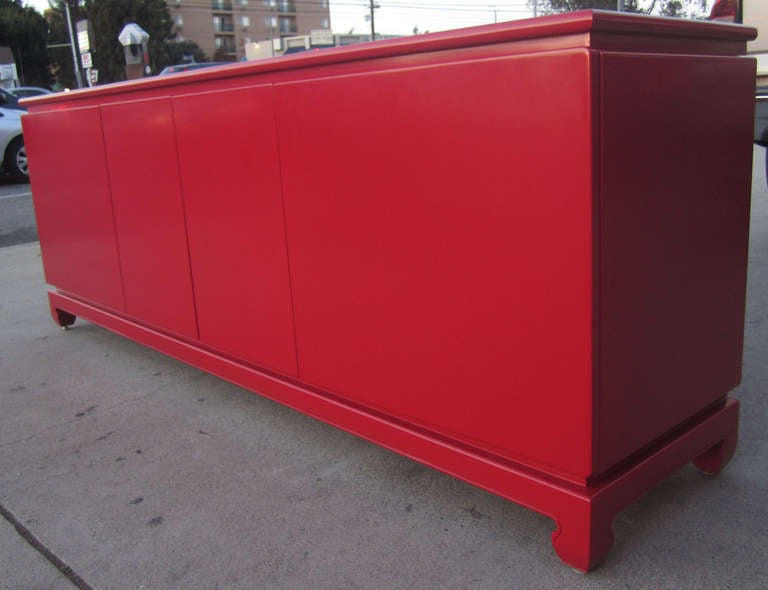 Impressive Red Lacquer Credenza Buffet Sideboard At