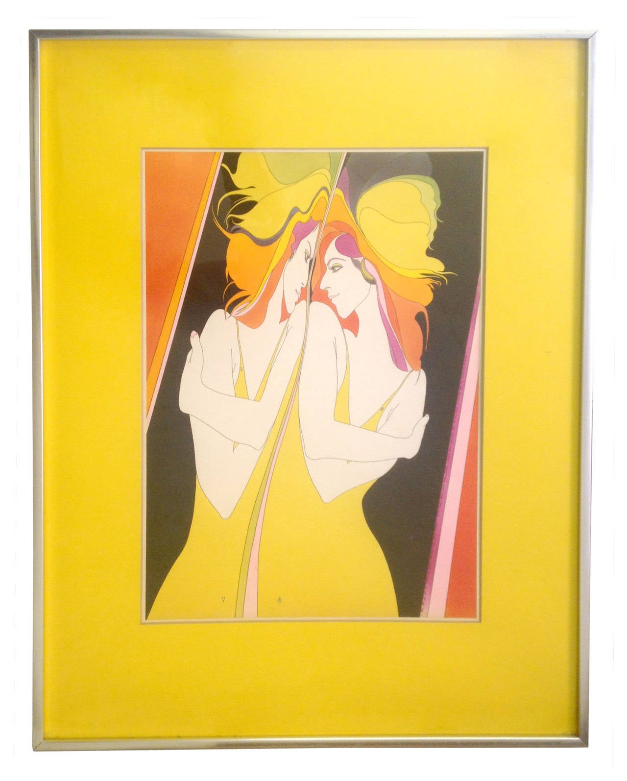A lithograph by 1970s psychedelic master John Luke Eastman, who worked out of Southern California during the 1960s-1980s. A young woman gazes at herself in the mirror, with a subtle inscription up the side reading