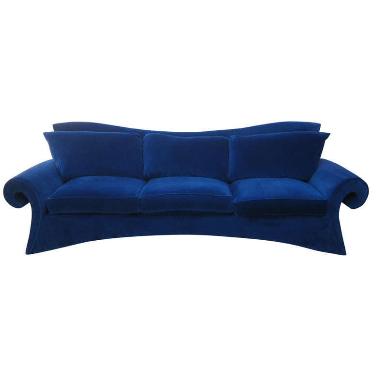 1980s Furniture striking 1980s sofa in blue velvetgoodman charlton at 1stdibs