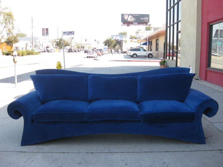Striking 1980s Sofa In Blue Velvet By Goodman Charlton At 1stdibs