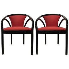 Pair of Black Lacquer Italian Chairs