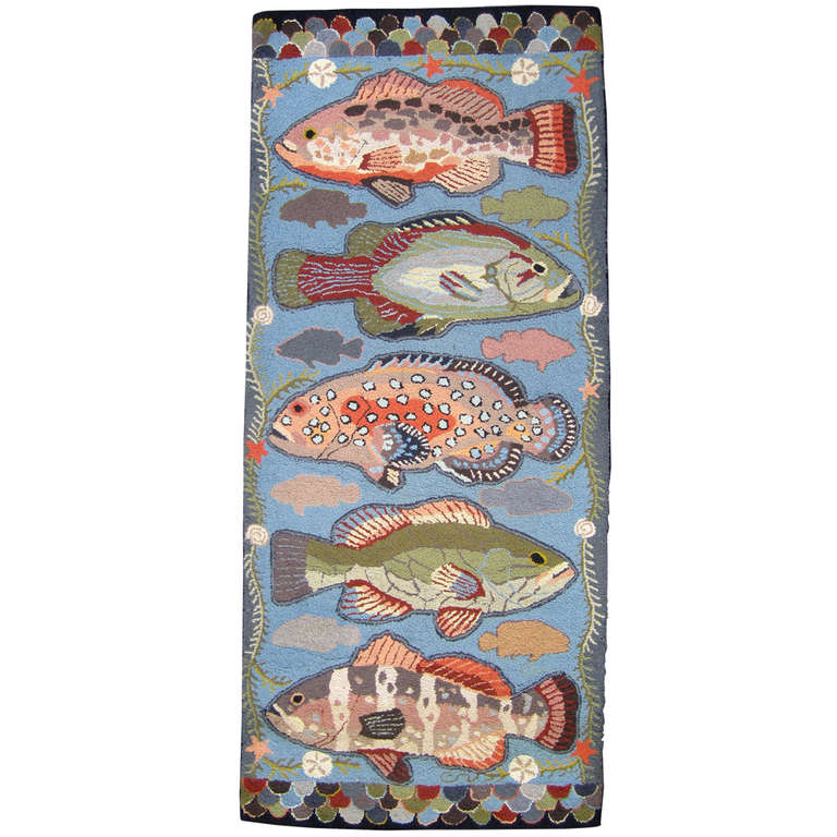 Unusual Hooked Rug With Fish Motif At 1stdibs