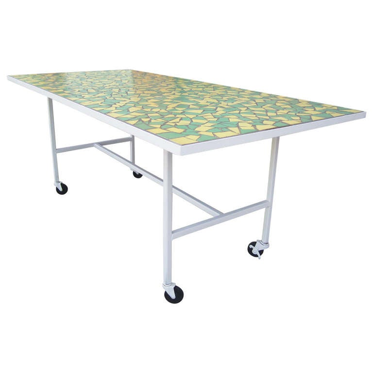 Mid Century Modern Mosaic Top Dining Table Indoor Outdoor