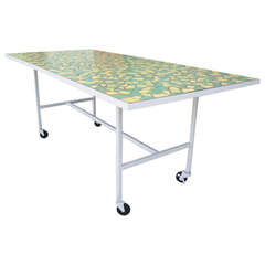 Mid Century Modern Mosaic Top Dining Table, Indoor/Outdoor