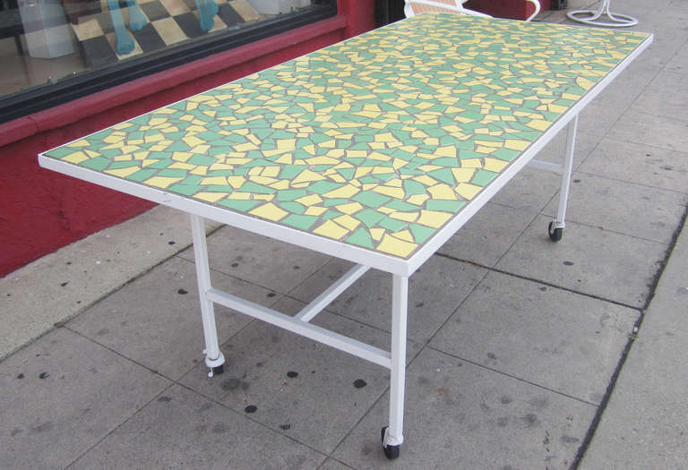 Mid Century Modern Mosaic Top Dining Table Indoor Outdoor At 1stdibs