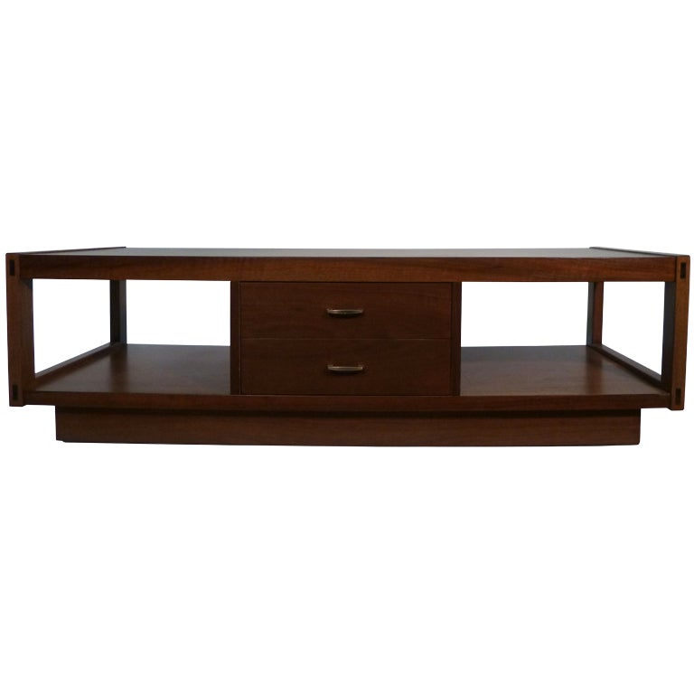 Lane Blonde Coffee Table: Architectonic Walnut Coffee Table By Lane At 1stdibs