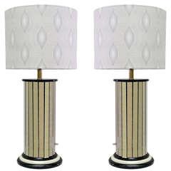 Paneled Mirror Lamps, Pair