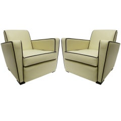 French 50s Club Chairs, Pair