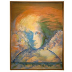 Portrait of Woman in Sky with Fiery Hair by Hank Laventhol