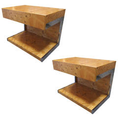 Pair of Bird's Eye Maple Side Tables by Milo Baughman
