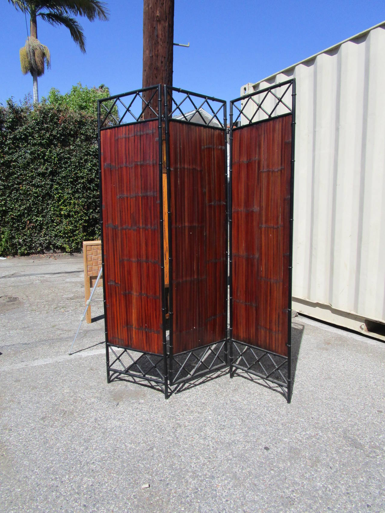 American Wrought Iron and Bamboo Slat, Three-Panel Screen For Sale
