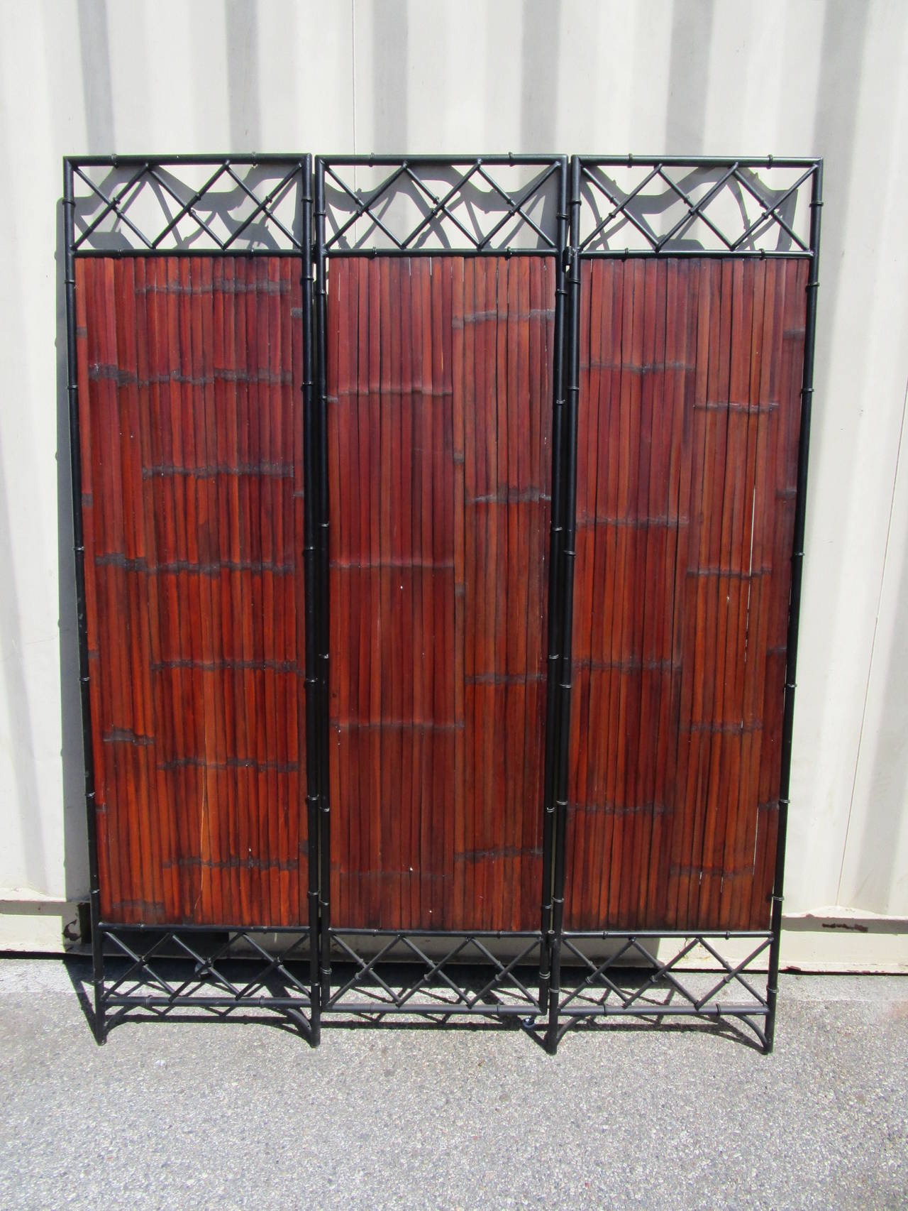Mid-Century Modern Wrought Iron and Bamboo Slat, Three-Panel Screen For Sale