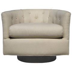 Milo Baughman Swivel and Tilt Barrel Chair