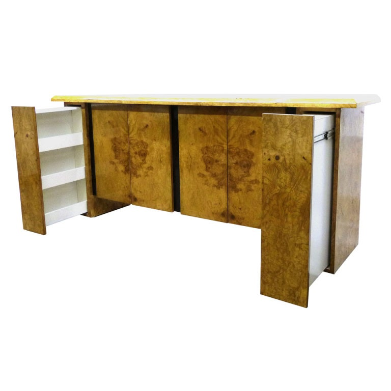 Burled Wood Bar Or Cabinet In The Manner Of Milo Baughman