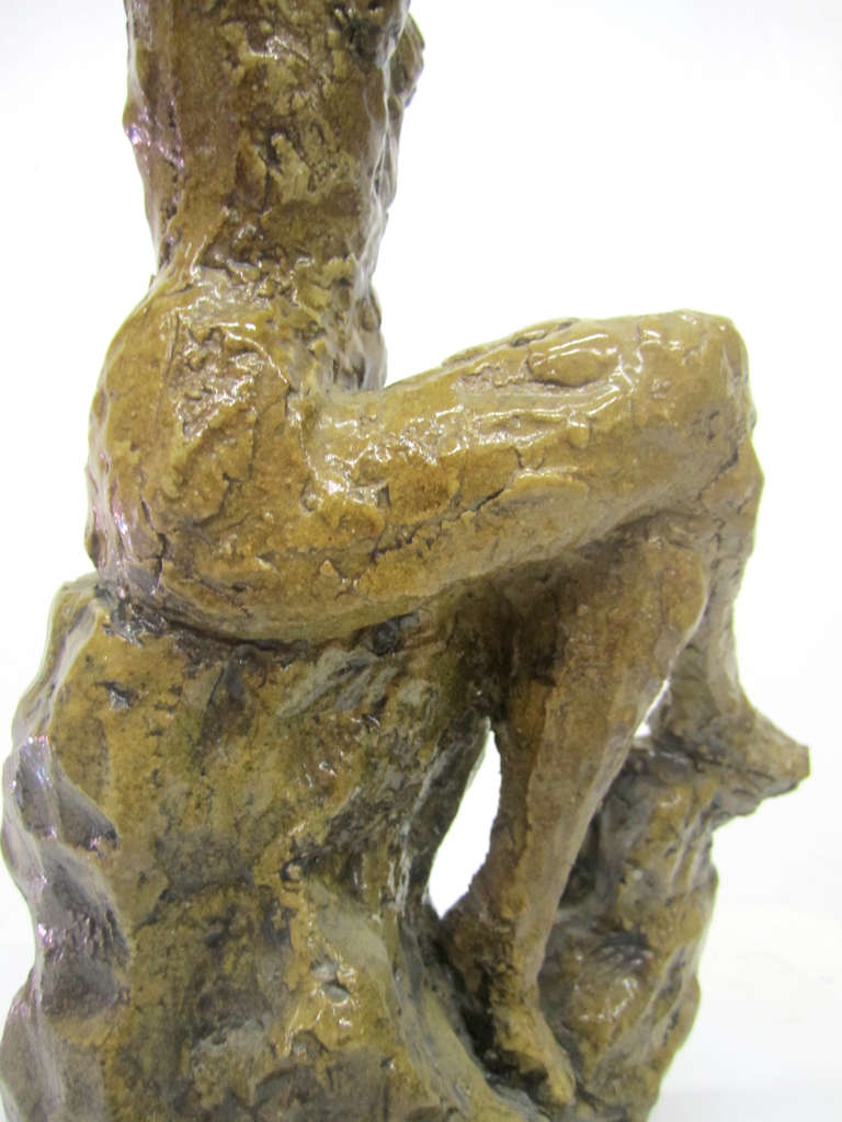 Ceramic Sculpture of a Bathing Female by Hendrick Grise For Sale 1