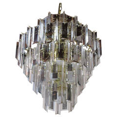 Mid-Century Modern Five-Tier Lucite Resin and Glass Pendant Chandelier
