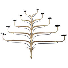 Gilt Candelabra Sconce with Ten Candle Arms