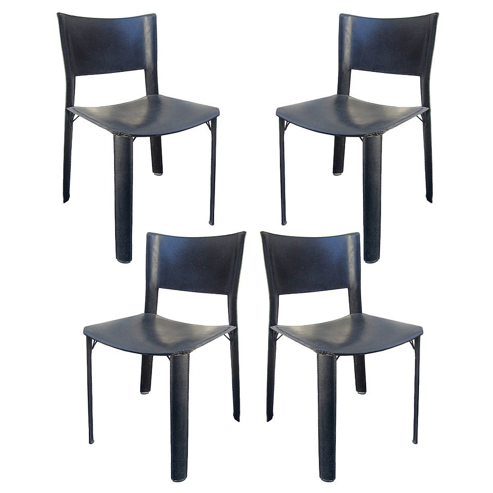 Set of four black leather dining chairs at 1stdibs for Black leather dining room chairs