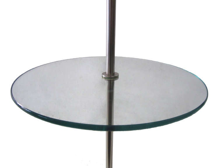 1960s laurel floor lamp with attached glass table at 1stdibs. Black Bedroom Furniture Sets. Home Design Ideas