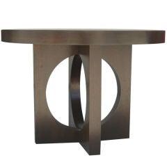 Ebonized Round Table with an Elliptical Base