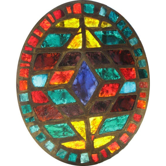 French Mid-Century Stained-Glass Window For Sale
