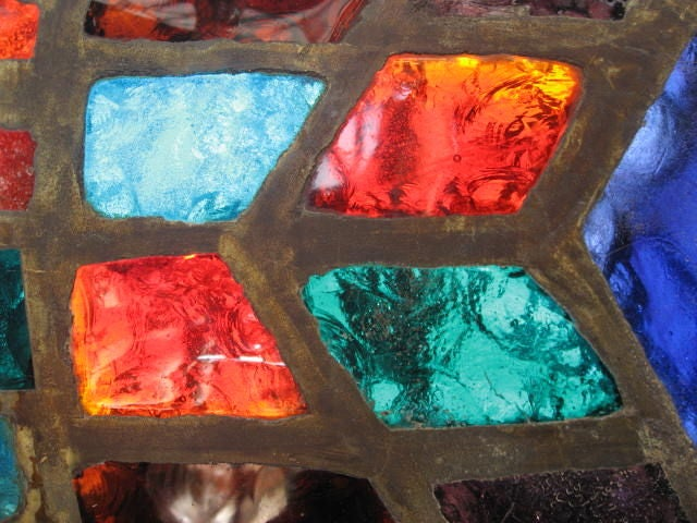 Mid-Century Modern French Mid-Century Stained-Glass Window For Sale