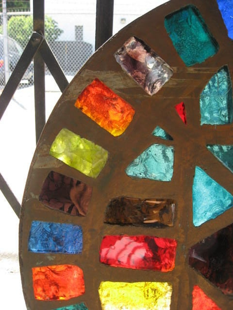 French Mid-Century Stained-Glass Window In Excellent Condition For Sale In Los Angeles, CA