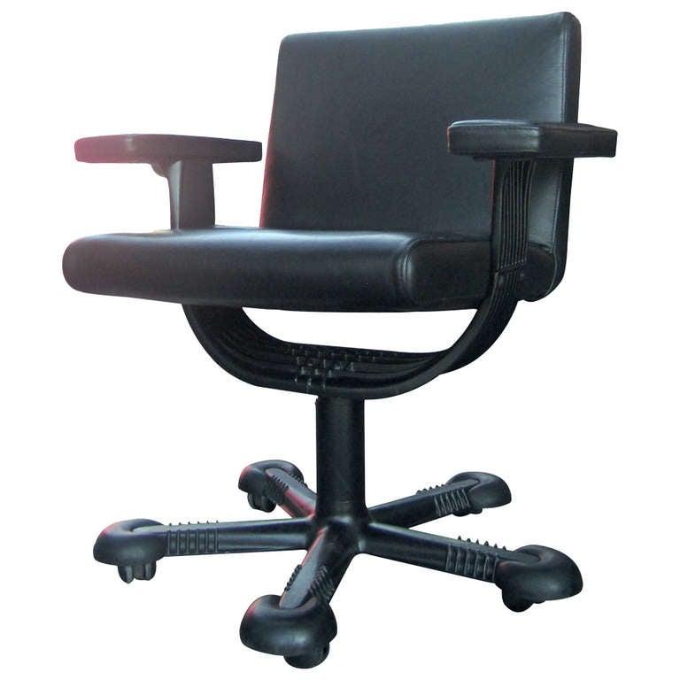 Rare Vico Magistretti Leather Office Chair