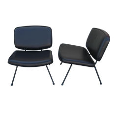 French Mid-Century Slipper Chairs by Pierre Paulin, Pair
