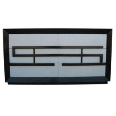 Mid-Century Parchment and Black Lacquer Chest by Kittinger