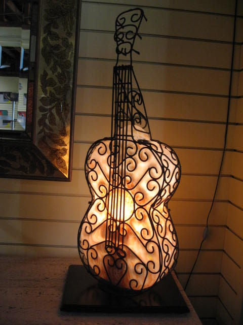 Blown Glass Guitar Lamp At 1stdibs