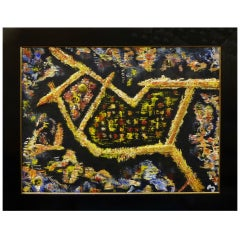 Mid-Century Modern Expressionist Bird Painting by Frederick Perl